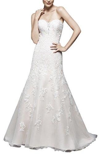 George bride elegante ruffle organza una linea abito da sposa di trascinamento, taglia 48, weiss