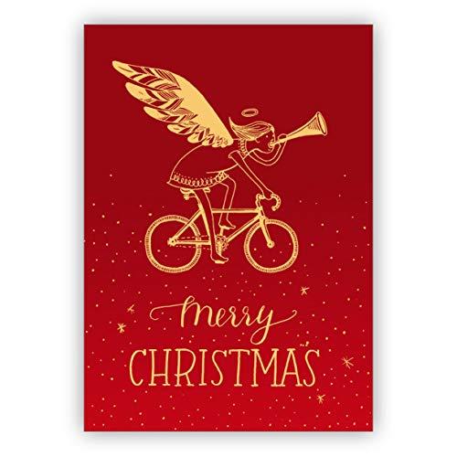 rote Designer Weihnachtskarte mit trompetendem Engel auf Fahrrad: Merry Christmas • als festliche Grußkarte zu Weihnachten, zum Jahreswechsel für Familie und Firma