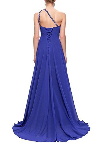 Azbro Women's Rhinestone Trim One Shoulder Prom Dress Royal Blue