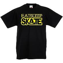 Kinder T-Shirt Eat - Sleep - Skate - für Skater, Skate Longboard, Skateboard Geschenke