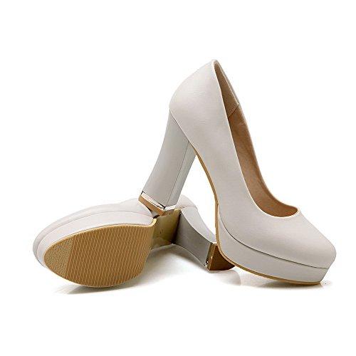 VogueZone009 Damen Ziehen Auf Rund Zehe Hoher Absatz Pu Leder Pumps Schuhe Cremefarben