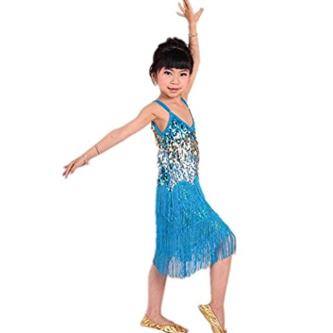 Byjia Mädchen Latin Dance Rock Indien Quaste Sequins Handgefertigte multicolor Kinder Party Moderne Prinzessin Professionelle Performance Kleider Kostüm d (Kostüm D'indien)