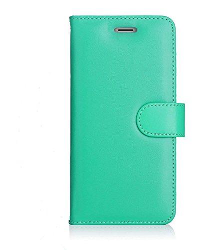 iPhone 7Plus Schutzhülle, RFID blockierende Geldbörse, iPhone 7Plus Wallet Schutzhülle mit Standfunktion Kreditkarte Displayschutzfolie (Mint Grün) (Iphone Reader Credit Card Case)