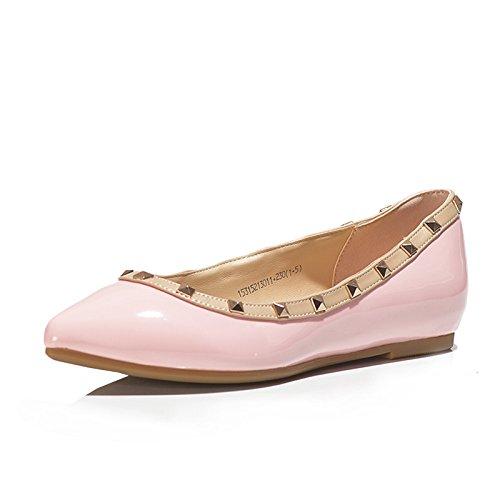 Minetom Damen Frauen Sommer Frühling Flach Casual Pumps Ballerinas Schuhe ( Pink EU 36 ) (Leder Patent Flache Schuhe Ballerina)