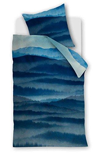 Beddinghouse pur coton Parure de lit 2 pièces Housse de couette 135 x 200 cm Taie d'oreiller 80 x 80 cm Summer Lake 172011 Mountain View Blue
