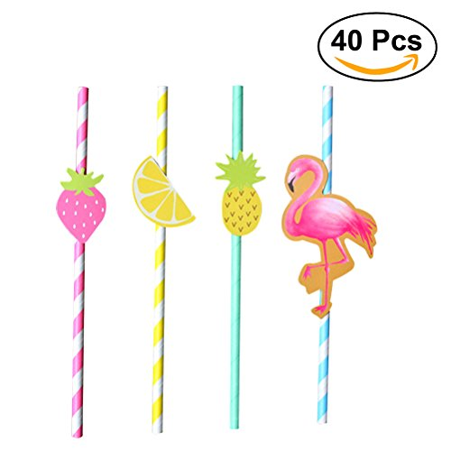 OUNONA 40pcs Papier-Trinkhalme in 4 Farben Hawaiische Partei-Papier-Strohe Dekorative Strohhalme Hawaiische Thema Dekoration (Flamingo + Erdbeere + Ananas + Zitrone) (Spa-thema-partei)