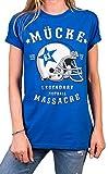 MAKAYA Mücke 63 Shirt für Damen blau - American Football Trikot mit Helm - Bud Oversize Top Große Größen M