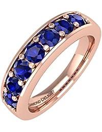 14K Gold Blau Saphir HOCHZEIT/Jahrestag Band Ring (3/4Karat)