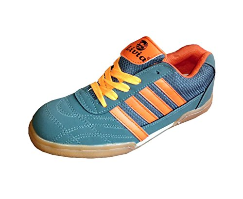 Livia Badminton Shoes for Men Boys Women Girls Junior PU Material Non Marking Sole Outdoor Indoor Playing - Best in Running Walking Sports Jogging (9 IND/UK) Gray