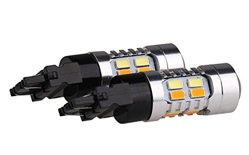 Preisvergleich Produktbild 2x Dual-Color-LED T20 - WY21W - WX3×16d -7440NA - Zweifarbige DRL Tageslaufblinkerlampe (XENON-WEISS & GELB-ORANG) (Cristal-White & Amber-Yellow) Zweifarbige DRL Tageslaufblinkerlampe Seitenlichter Signallampen mit 22x Power SMD,  4x Anschlüsse. Jurmann Trade GmbH®
