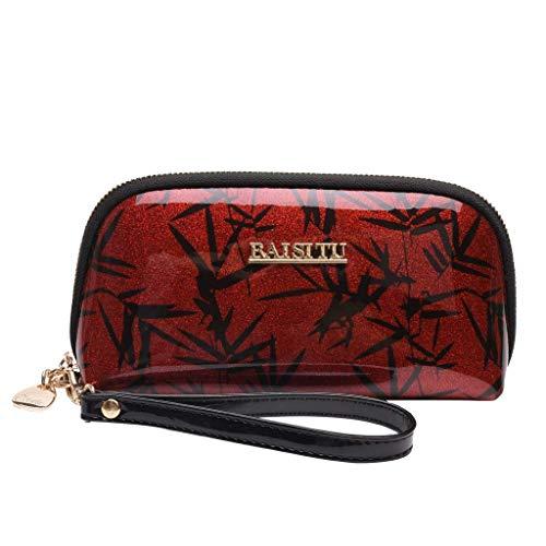 ODJOY-FAN 2019 Damen Handtasche Geldbörse Brieftasche Armband-Tasche Kupplung Grosse Kapazität Reißverschluss Totes Taschen(Rot,1 PC) -