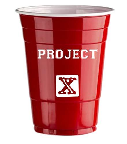 Red Celebration Rote Bechern Project-X Logo 50 x Red Cups - Beer Pong American Party tassen Original 500 ml - Logos Student & Geburtstag | 16oz Große Plastik Becher Trink Glas Einweg Geschirr