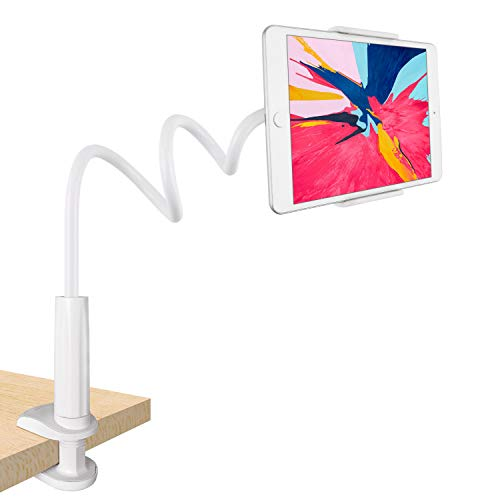 Tryone Gooseneck Tablet Stand, Tablet Mount Holder for iPad iPhone Series/Nintendo Switch/Samsung Galaxy Tabs/Amazon Kindle Fire HD And More, 30in Overall Length Bianco Bianco