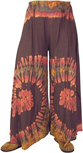 Guru-Shop Farbenfroher Batik Hosenrock, Damen, Viskose, Size:38, Lange Hosen Alternative Bekleidung Braun
