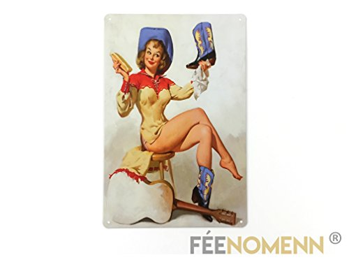 FEENOMENN Platte Metall Deko Vintage - Cowgirl Country Pin Up (20 x 30 cm)