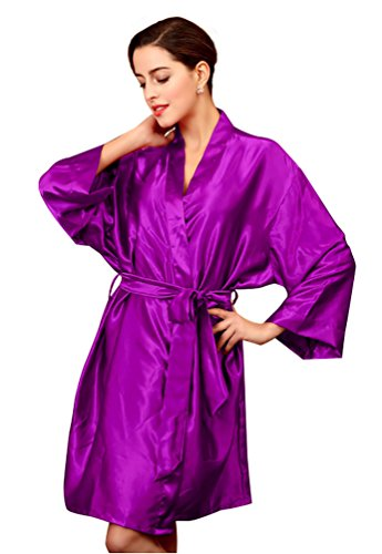 NiSeng donna pigiama seta estivo manica lunga satin accappatoio cintura abito da sera Viola
