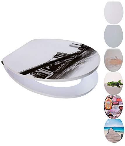 Spirella WC Deckel MDF mit Absenkautomatik New York mit High Gloss Finish und Schnellbefstigung Scharniere aus Edelstahl Weiß