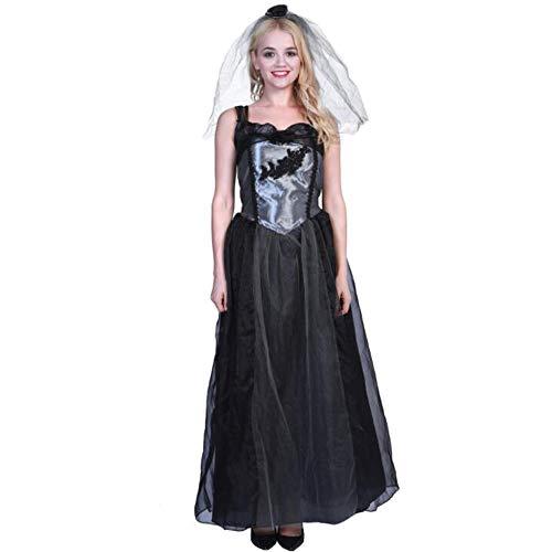 AUED Halloween kostüm Erwachsene Frauen Kleid bühnenspiel kostüm hochzeitskleid gespenstische Hochzeit Damen Braut schwarz krepp bühnenkleidung Halloween Cosplay,S (Gespenstische Halloween Kostüm)