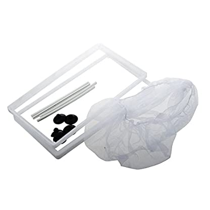 SODIAL(R) Fish Tank Plastic Frame White Net Fry Hatchery Breeder with Suction Cups 5