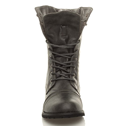 Damen Militärstiefel Schnüren Reißverschluss Kleiner Absatz Flach Nieten Armee Arbeit Stiefeletten Größe Dunkelgrau