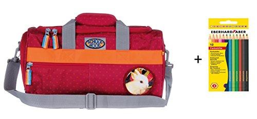Preisvergleich Produktbild Sporttasche mit Patchy Timeless N.G. von School-Mood mit 12 Faber Farbstiften - versch. Farben (Hase / Berry Dots)