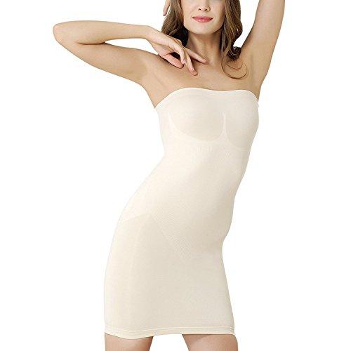 des Damen Miederkleid Trägerlos, Bauchweg Unterkleid, Body Shaper, stark Formende Unterwäsche Formwäsche (M,Beige) ()