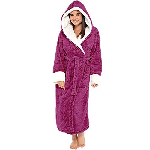 BIBOKAOKE Bademäntel für Damen Winter Langarm Saunamantel Robe Einteiler Pyjama Schlafanzüge Bademäntel Nachtwäsche Nachtwäsche