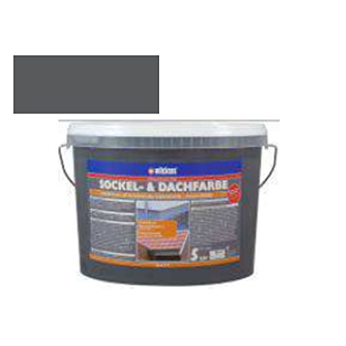 Sockel- & Dachfarbe inkl. 4 x 5m Abdeckfolie von E-Com24 (Sockelfarbe Schiefer 5 Liter)