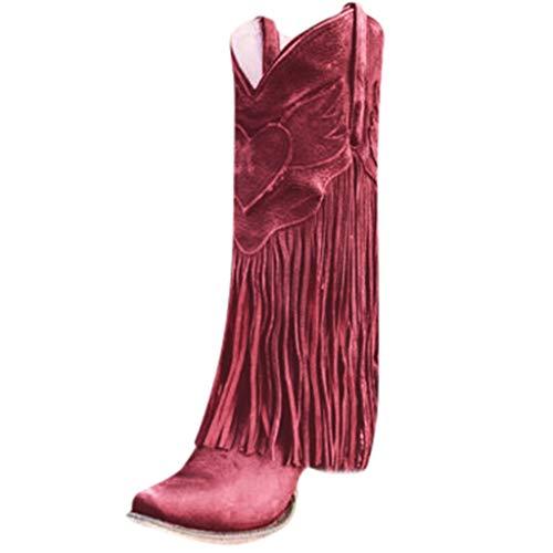 Watopi Damen Schuhe Herbst Stiefel fransen Mode Wohnungen Quaste Spitze Zehe Schuhe mit niedrigen Absätzen Western Knight Stiefel
