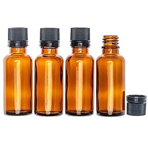 30ml Braunglasflaschen, 24 Stück in Safety-Packs, mit Randtropfer in schwarz, Pharmaqualität hergestellt gem. GMP ISO 13485,