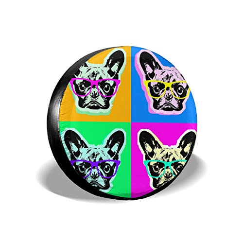 Funny&shirt Tire Cover French Bulldog Pop Art Polyester Universal Spare Wheel Tire Cover Wheel Covers Jeep Trailer RV SUV Truck Camper Travel Trailer Accessories 14 inch (Cover Pop-up-camper)