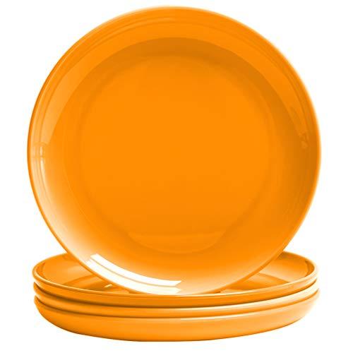 MICHLEY Bunte Teller Plastikteller Mehrweg Flache Teller 4er Set,Modern Geschirrset Kinderteller Orange - Orange Teller Set