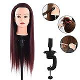 Testa di manichino, Manichino per esercizi di parrucchiere, capelli castano scuro, 60 cm, per l'allenamento in stile capelli
