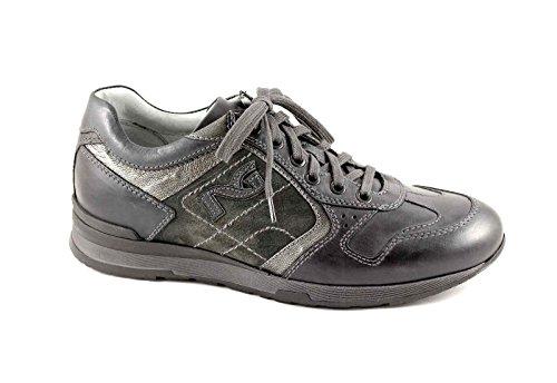 Nero Giardini Black Jardins 3640 Anthracite Homme Chaussures de Sport Lacets en Cuir + Tissu
