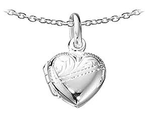 "Childrens Silver Heart Locket -16"""