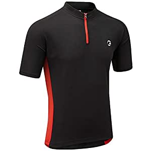 Tenn Active Mens Short Sleeve Cycling Jersey Top - Black - M