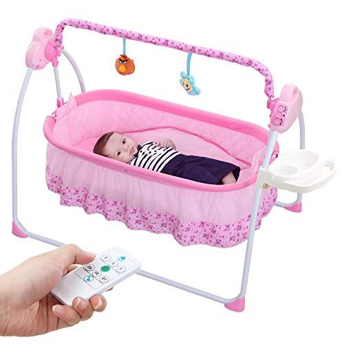 Multifuntion babywiege Wippe,WBPINE elektrische Babybett Automatische Babyschaukel MP3-Player(Pink)