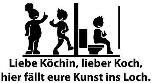 Aufkleber WC Deckel 25x13cm Liebe Köchin Toiletten Sticker, Bad Spruch lustig Klodeckel Tattoo Wandtattoo Toilettendeckel Badezimmer Tür 3C015
