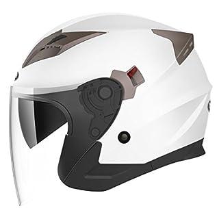 YEMA Jethelme Rollerhelm Sturzhelm Chopper Helm YM-627 Motorradhelm ECE mit Doppelvisier Sonnenblende für Damen Herren Erwachsene-Weiß-M