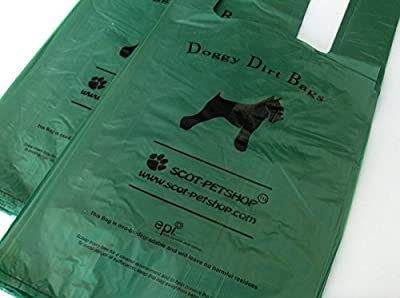 Scot-Petshop Biodegradable Dog Poop Bags x 100 | Large Green Dog Poo Waste Bags