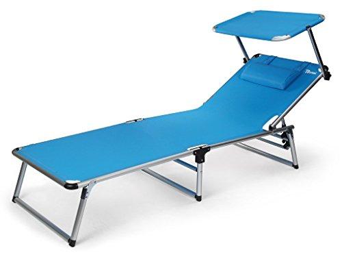 0 Bertoni Rambla Branda Textilene C/Sonnenliege mit Sonnendach für Strand und Pool, Azurblau,...