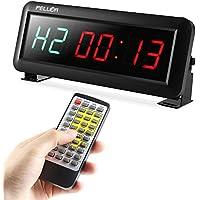 PELLOR Temporizador con Pantalla LED, Reloj de Pared 6 Dígitos LED Temporizador de Intervalos , Reloj en Tiempo Real de 12/24 Horas, Gym Temporizador Con Mando a Distancia por Infrarrojos