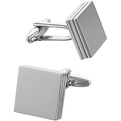 Gemelos de metal forma cuadrada para boda