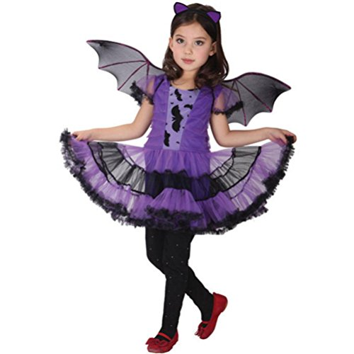 der Baby Mädchen Halloween Kleidung Kostüm Kleid Haarband und Fledermaus Flügel Outfit (115-125CM, Lila) (Neugeborenes Mädchen Halloween-kostüm)