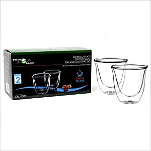 FilterLogic CFL655B Thermoshield Double Walled Espresso Shot Coffee/Mocha Vacuum Glasses/Glass/Cup (Twin Pack) - Dishwasher Safe - Ideal for Coffee/Gift Lovers