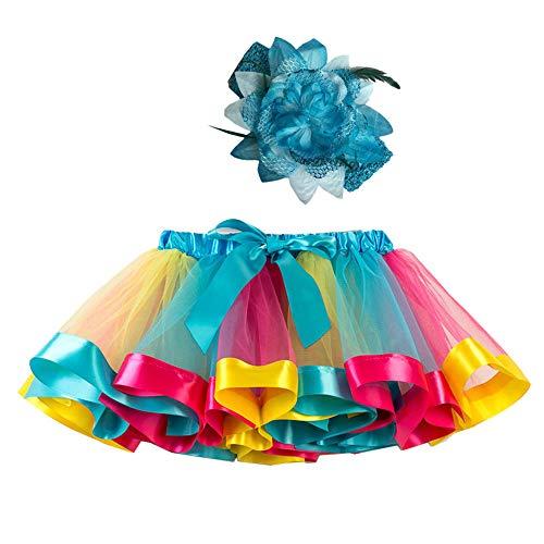(Mädchen Kinder Tutu Rock, zweiteiliges Set Party Tanz Ballett Kleinkind Baby Regenbogen Kostüm Rock + Stirnband Set Karneval Ostern (2Y-11Y)(Himmelblau,M))