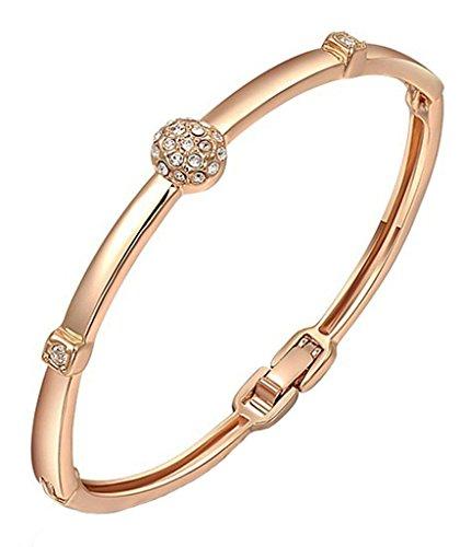 Adisaer Metalllegierung Armband Damen Rose Gold Runde Armreif Für Frauen Armschmuck (Beste Paare Jahre Kostüme 80er)