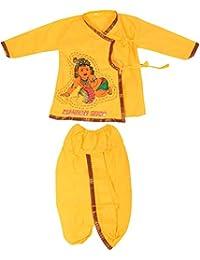 FOCIL Yellow Dhoti Kurta Makhan Chor For Kids