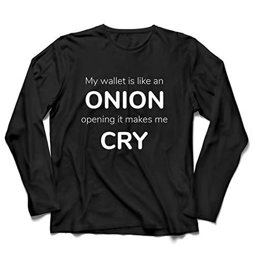lepni.me Herren T Shirts Meine Brieftasche ist wie eine Zwiebel, Kein Geld Lustiger Job, Büro-Humor (XX-Large Schwarz Mehrfarben)