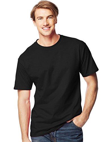 Hanes Mens Lay Flat Collar Tall Beefy T-Shirt Black